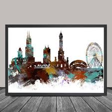 chicago skyline chicago art poster chicago print chicago abst
