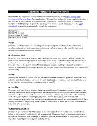 Professional Goals List Appendix F Professional Development Plan