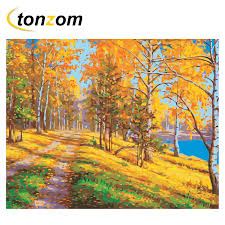 <b>RIHE</b> Fall Tree Path Diy Painting By Numbers <b>Oil</b> Painting On ...