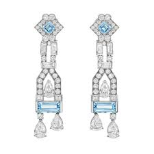 aquamarine diamond chandelier earrings