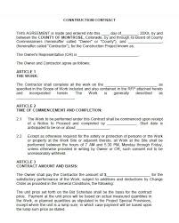 Construction Contract Agreement 40 Great Contract Templates