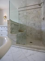 Glass Enclosed Showers calacatta marble enrobes this glassenclosed shower to 1445 by xevi.us