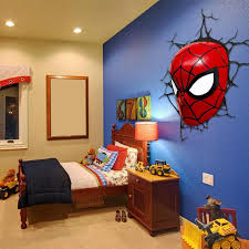 Spiderman Bedroom Decorations 3d Poster Wall Lamp Cartoon Spiderman Action Head Shaped Lights