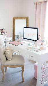 White and pink home office, white desk, feminine home office
