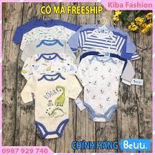 HÀNG MỚI VỀ]Set 5 Bộ bodysuit beliti dài tay trẻ sơ sinh 0-12 tháng-