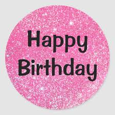 Glam Happy Birthday Black Hot Pink Glitter Sparkle Classic Round Sticker