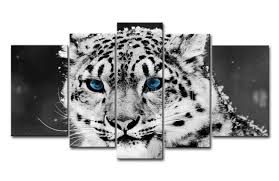5 piece black and white wall art painting blue eye snow leopard print on canvas the on snow leopard canvas wall art with 5 piece black and white wall art painting blue eye snow leopard