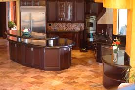 cherry kitchen cabinets black granite. Beautiful Kitchen Decoration Using Black Granite Counter Tops : Awesome L Shape Modern Cherry Cabinets