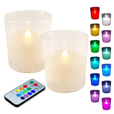 Remote Control Tea Lights Bed Bath And Beyond 2ct Led Wax Candles Filled In Glass Holders With Remote