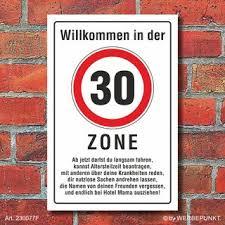 Schild Zone 30 Geburtstag Geschenk Lustig Spruch 3mm Alu Verbund 749