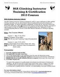 Bsa Medical Form Custom BSA Climbing Instructor Training Certification 44 Courses