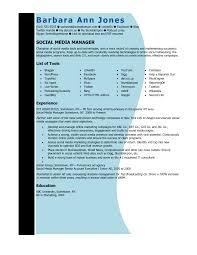 Social Media Manager Resume Resume Templates