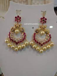 Chandbali Design 14 Grams Rubys Cz Stones Chandbali Gold Jhumka Earrings