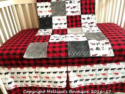 decoration plaid nursery bedding rustic buffalo deer woodland red
