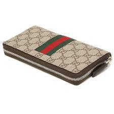 gucci zipper wallet. gucci wallet mens gucci 408831 khn4n9791 new web gg supreme canvas men\u0027s long beige ebon zipper i