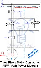 rev for three phase motor connection power and control diagrams Electric Motor Single Phase Wiring at Wiring Diagram For Forward Reverse Single Phase Motor
