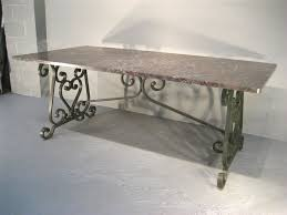 190039s French Wrought Iron Marble Top Dining Table At 1stdibs
