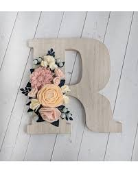wooden letter wall decor. Custom Wood Floral Wall Letter Felt Flower Nursery Letters For Wooden Decor L