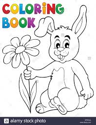 coloring book easter bunny with flower