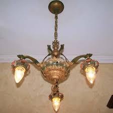 929 vintage 20s 30s ceiling light fixture art nouveau polychrome chandelier