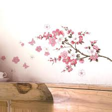 pink cherry blossom wall decal flower wall stickers home decorations living  room flower wall stickers home