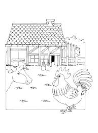 Kleurplaten Paradijs Kleurplaat Een Boerderij Met Een Koe Kip En