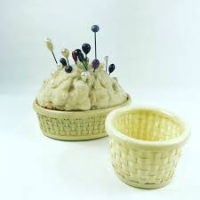 vintage celluloid sewing pin cushion vanity set