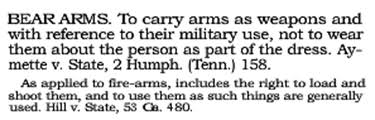 bearing arms against a rabbit illinois black s law dictionary