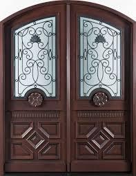 Front Door Custom Double Solid Wood With Dark Mahogany Finish - Iron exterior door