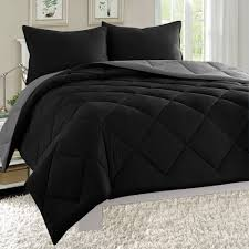 empire 3pc reversible comforter set microfiber quilted bed cover queen size grey black com