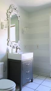 Remodelaholic Cute Striped Wall Update For Half Bath - Half bathroom