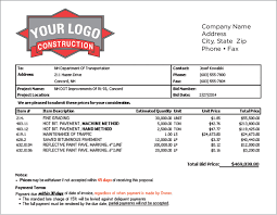 Construction Bid Form Construction Estimating Software Job Project Bidding Program
