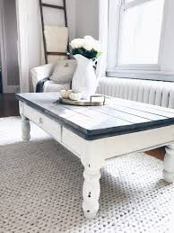 farmhouse coffee table makeover gray wood plants on white chalk paint coffee table on ingplans