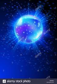 Blue Light Disco Sparkling Disco Ball On Blue Light Burst Stock Photo