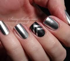 source black and silver nail art