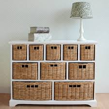 white storage unit wicker: tetbury white chest of drawers with  storage baskets