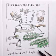 a graphic recipe drawing every day for inktober2018 michi mathias ilration ics