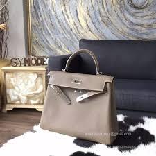 hermes kelly 32 brown. hermes kelly 32 etoupe ck18 togo leather handstitched silver hw - brown