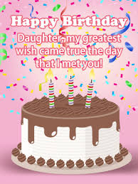 White Cake N Candles Happy Birthday Card For Daughter Your