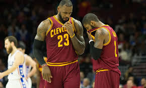 lebron water. lebron james and kyrie irving did the water bottle challenge during blowout of knicks lebron e