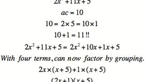 the rule for factoring four terms can be extended to quadratics the rule for doing so is find factors of a c that sum to b for example x 2 10x 24 has