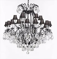 wrought iron crystal chandeliers lighting empress crystal tm w black shade