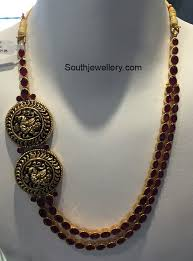 ruby long chain with peacock side pendants