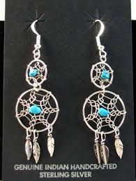 Dream Catcher Earings Beauteous Native American Navajo Made Double Dreamcatcher Earrings With
