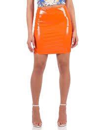 go glossy faux patent leather skirt orange