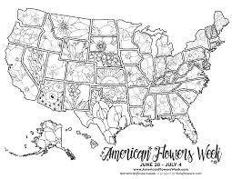 Free coloring pages for all ages: 50 State Flowers Free Coloring Pages American Flowers Week