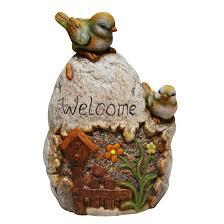 welcome sign rock with bird garden statue wayfair woodland imports china garden grey