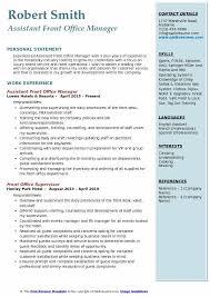 resume for front desk assistant front office manager resume samples qwikresume