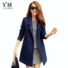blue women jacket yuoomuoo autumn winter coat wool coat female overcoat medium long woolen women coat