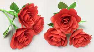Rose Paper Flower Making How To Make Beautiful Rose Paper Flower Flowers Making Of Colored Paper Diy Paper Crafts